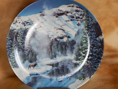 "Wildlife Plate   ' Winter Peace in Yellowstone Park ""  by Jean Sias   ( no box )"