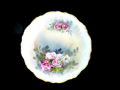 """Limoges LDBC 12"""" Hand Painted Rose Plate  charger circa 1890's"""
