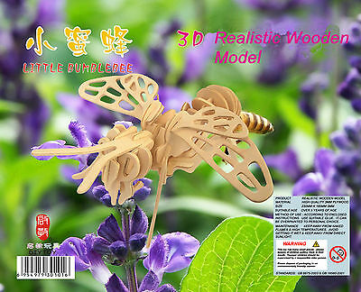 Butterfly Bumble-bee DIY 3D Jigsaw Realistic Wooden Model Kit Toy Puzzle Gift