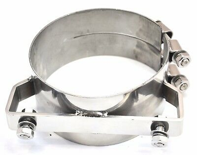 "exhaust band clamp bracket wide 304 stainless steel for 6"" Freightliner stacks"