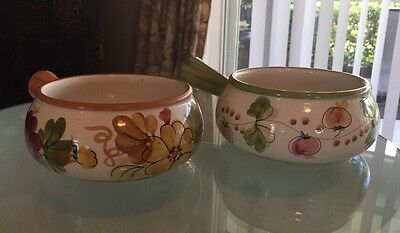 Pair of Portuguese Hand Painted Floral Handled Pottery Dish - FTD