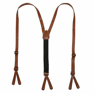 New CTM Leather Button-End 3/4 Inch Suspenders