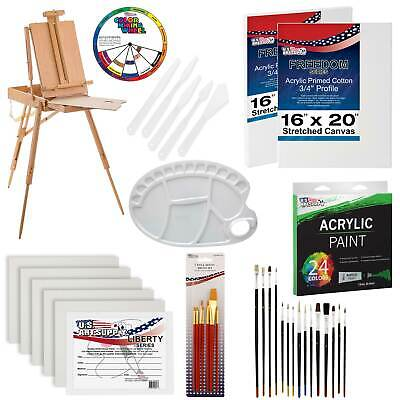 62-Piece Artist Acrylic Painting Kit w/ French Easel, Paint, Brushes & Canvas