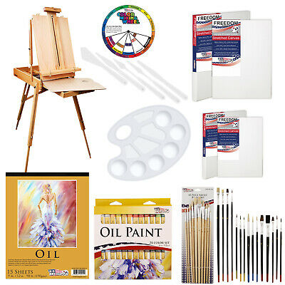 62-Piece Custom Oil Artist Painting Kit with French Easel, Paint & Accessories