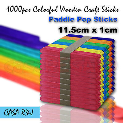1000 pc Coloured Wooden Craft Sticks Paddle Pop Sticks Ice Cream 11.5cm x 1cm