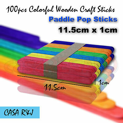 100 pc Coloured Wooden Craft Sticks Paddle Pop Sticks Ice Cream 11.5cm x 1cm