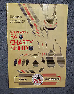 1985 - CHARITY SHIELD PROGRAMME - EVERTON v MANCHESTER UTD - Great Condition