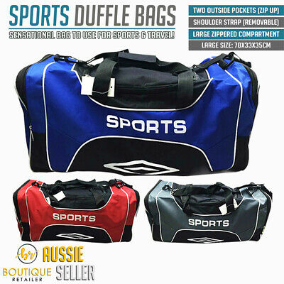 LARGE SPORTS BAG With Shoulder Strap Gym Travel Bags Water Resistant New