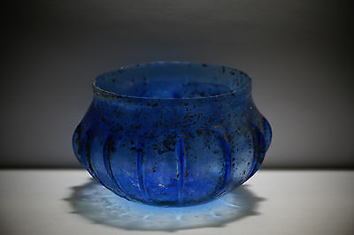 Aphrodite- Ancient Roman  Blue Ribbed Glass Bowl