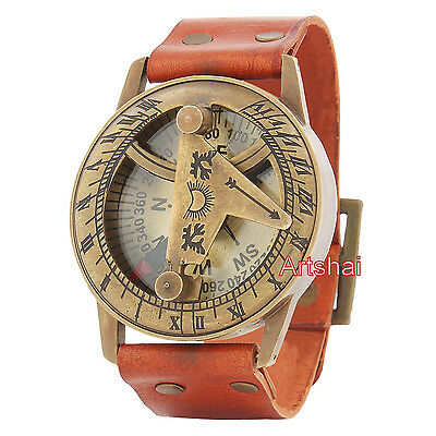 Artshai Sundial Design Magnetic Compass in wearable  style. Leather band