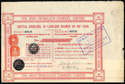 Spies Petroleum Co. Ltd., 25 shares of 10/-, 1909
