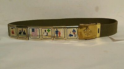 Official Boy Scouts of America BSA Belt With 6 Badges and Brass Buckle Vintage