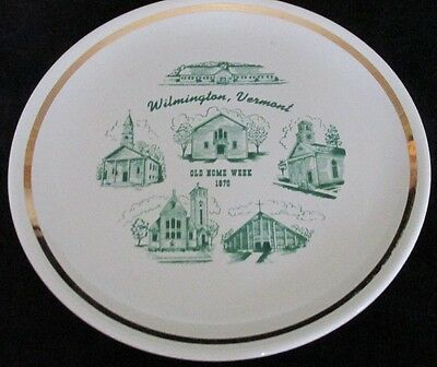 """Wilmington Vt Old Home Week 1970 Souvenir Historical China Plate 9 1/4"""""""