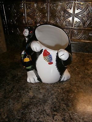 Vintage~Gkro~Multi-Color Striped Cat W/kitten & Fish Cookie Jar~Base Only~Nice