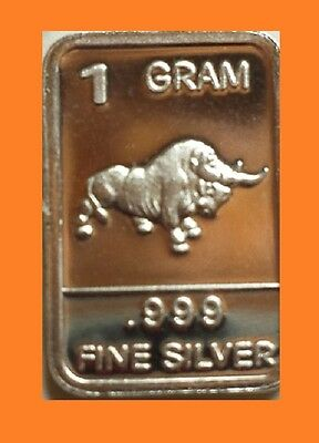 New 1 gm. Whason Mint .999 silver bar -   Bull        ++ ADD-ONs available !