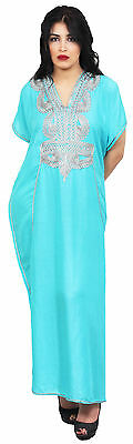 Moroccan Caftan Women kaftan Abaya Beach Cover Summer Long Dress Cotton Lightblu