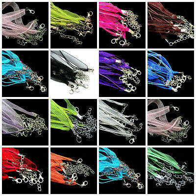 10X Cotton Wax Cord and Organza Ribbon Necklaces Lobster Clasps Jewelry Making
