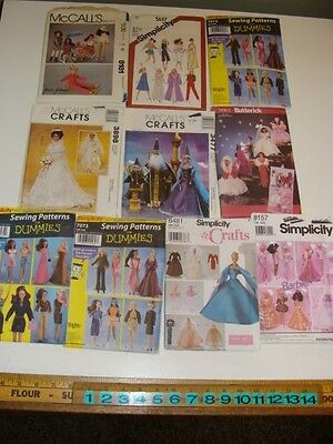 """Lot of 10 Barbie 11-1/2"""" Fashion Doll Clothes Wardrobe Sewing Patterns"""
