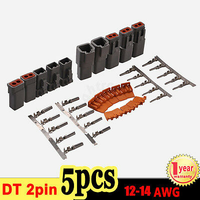 5 Sets Deutsch DT 2 Pin Connector Kit 12-14 GA Nickel Contacts Male & Female