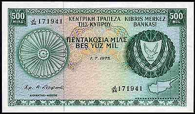 Cyprus. 500 Mils, J/34 171941. 1-7-1975. Almost Uncirculated.