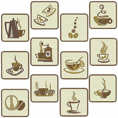 In-The-Hoop COASTERS * COFFEE TIME * Machine Embroidery Patterns *12 in 2 sizes