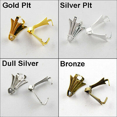 150 New Charm Gold Silver Bronze Dull Silver Plated Pinch Bail For Pendant 4x8mm