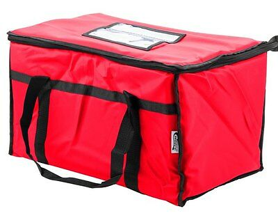 Insulated Nylon Food Delivery Bag Pan Hot Cold Carrier Restaurant Red New