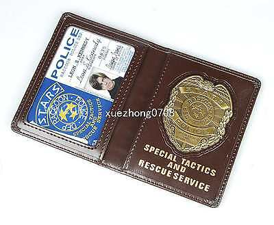 Resident Evil S.t.a.r.s. Leon Police Metal Badge With Id Card Wallet Holder Case