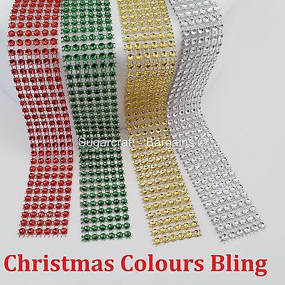 CHRISTMAS BLING RIBBON SPARKLY Sugarcraft Cake decorating Card craft mesh SILVER