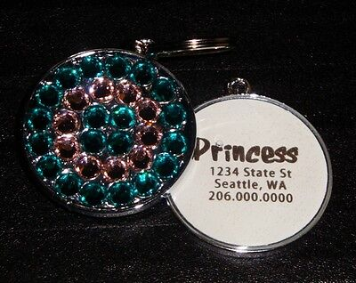 Blue Zircon & Powder Pink Swarovski Fancy Pet ID Tag