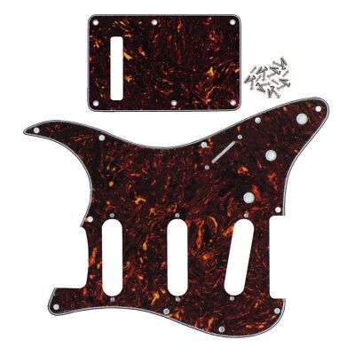 Brown Tortoise Shell 4Ply FD Strat SSS Guitar Pickguard Tremolo Cover and Screws