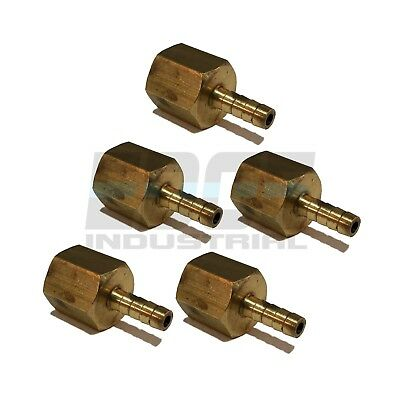 (5 Pieces) 1/8 HOSE BARB X 1/8 FEMALE NPT Brass Pipe Fitting Gas Fuel Water Air