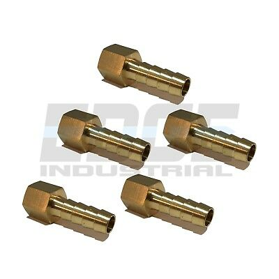 (5 Pack) 5/16 HOSE BARB X 1/4 FEMALE NPT Brass Pipe Fitting Gas Fuel Water Air