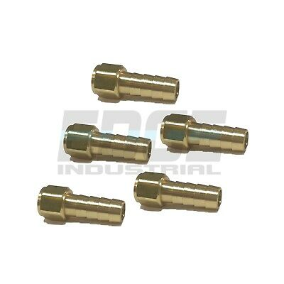 (5 Pieces) 3/8 HOSE BARB X 1/8 FEMALE NPT Brass Pipe Fitting Gas Fuel Water Air