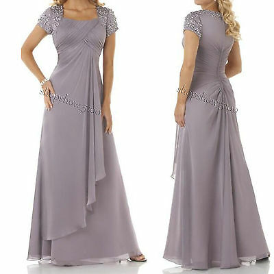 Short Sleeve Mother of the Bride Dresses Formal Evening Ball Gowns Floor-length
