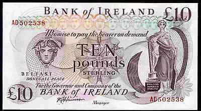Bank of Ireland, Ten Pounds, series AD, (1980s). Good Extremely Fine.