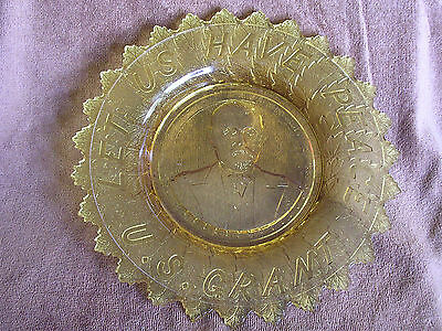 Antique 1885 EAPG Amber U.S Grant Let Us Have Peace Bread Plate/Civil War/POTUS
