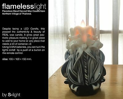 Flameless LED but REAL Hand Carved Candle (IN BLACK) / Free Remote