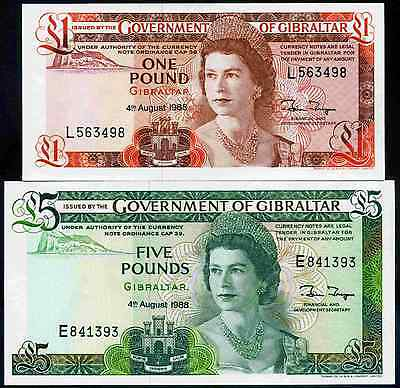Gibraltar. One Pound L563498 & Five Pounds E841393, both 4-8-1988.Uncirculated.