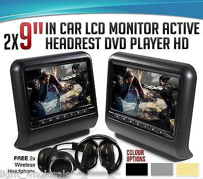 Black Pair 9 Inch Car Headrest Tablet DVD Player Wireless Controller SD USB HDMI