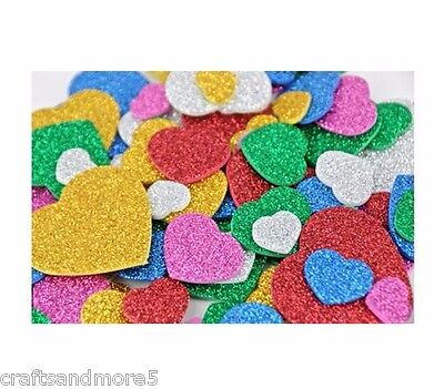 20 Foam Glitter Hearts Shapes~Various Colours~ 13mm-40mm ~Great For Scrapbooking