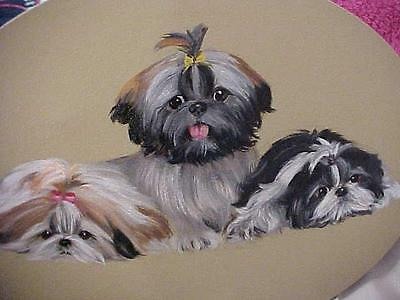 Magnificent Painting Of 3 Shih Tzus Original Painting By Monique