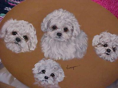 Clearance !  Puppies !  4 Paintings Of The Bichon Frise On Oval Stretched Canvas