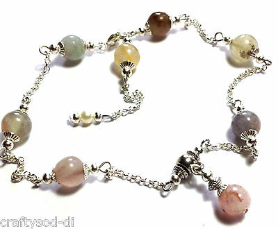 Silver Ankle Bracelet Agate Gemstone Summer Anklet Foot Chain ~ NOT FROM CHINA