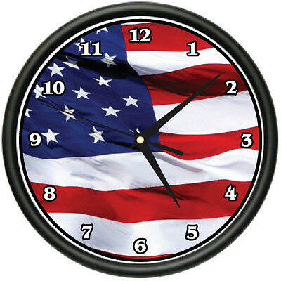 AMERICAN FLAG Wall Clock usa patriot stars and stripes gift