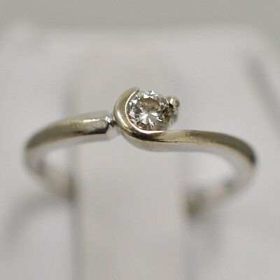 10K White Gold Solitaire Diamond 0.10 carat Ring Size 4.5