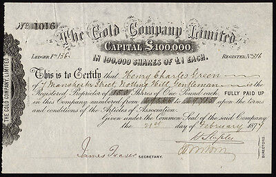 The Gold Co. Ltd., £1 shares, 1877