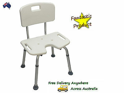 Aluminium Shower Chair / stool with back + Cut Out Section Height adjustable !!