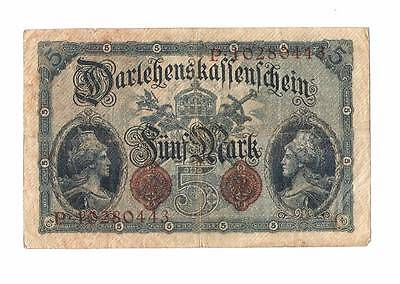 1914 German Empire 5 Mark Banknote