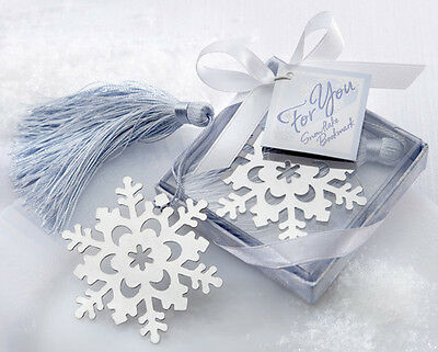 1x Exquisite Snowflake Alloy Bookmark With Ribbon Box As Gift